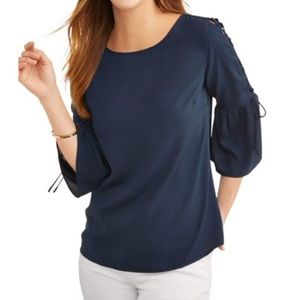 Women's Navy Lace Up Bell Sleeve Top